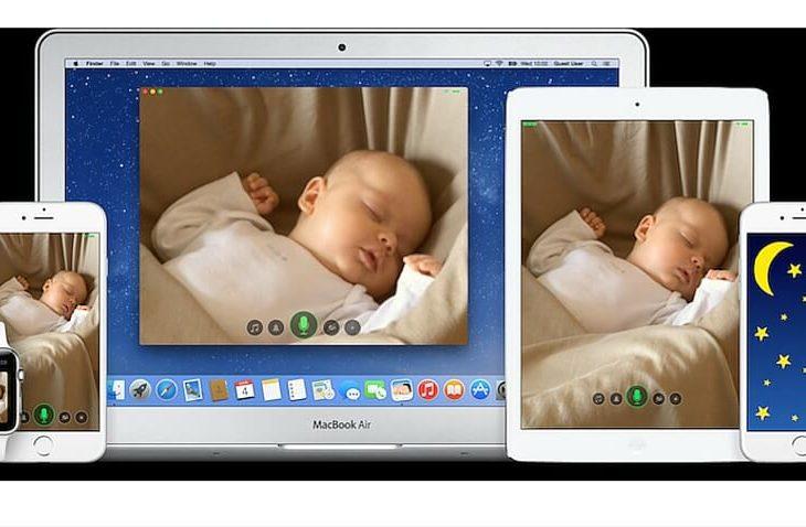 Diferentes pantallas de dispositivos móviles mostrando a un bebé descansando